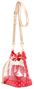 SCORE! Clear Sarah Jean Designer Stadium Shoulder Crossbody Purse Polka Dot Boho Bucket Game Day Bag Tote - Red and Gold Gold