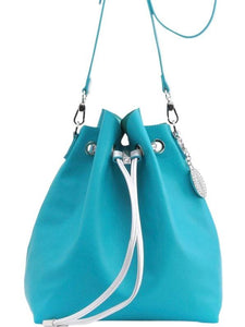 SCORE! Sarah Jean Designer Shoulder Crossbody Purse Solid Extra Large Boho Bucket Game Day Bag Tote - Turquoise and Silver