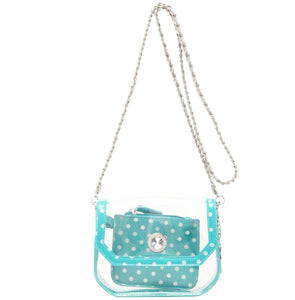 Chrissy Small Clear Crossbody Stadium Compliant Game Day Bag - Turquoise and Silver ZTA
