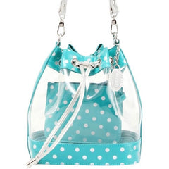 Sarah Jean Clear Bucket Handbag - Turquoise and Silver
