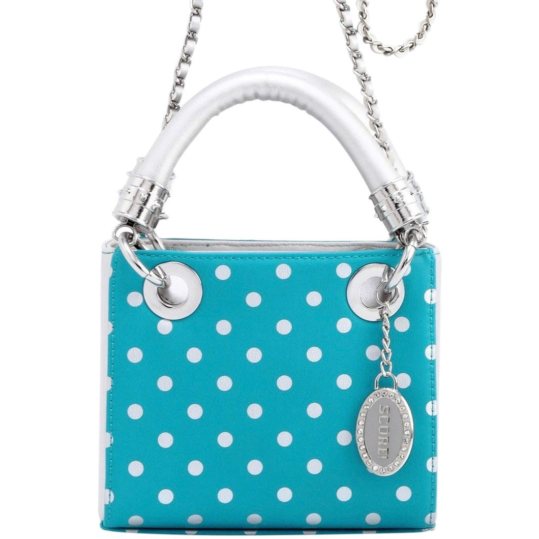 SCORE! Jacqui Classic Designer Stadium Approved Top Handle Satchel Polka Dot Detachable Chain Crossbody Square Game Day Bag Event Team Sorority Purse - Turquoise and Silver
