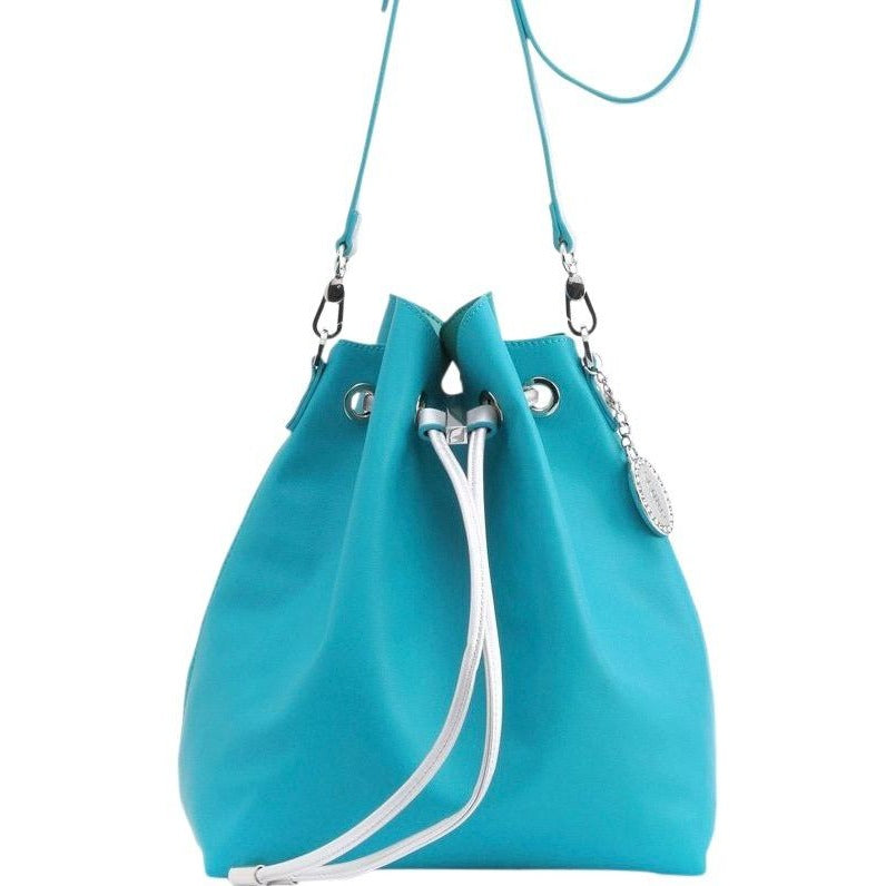 Sarah Jean Solid Bucket Handbag - Turquoise and Silver