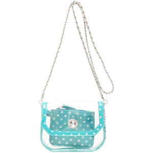 Chrissy Small Clear Game Day Handbag - Turquoise and Silver