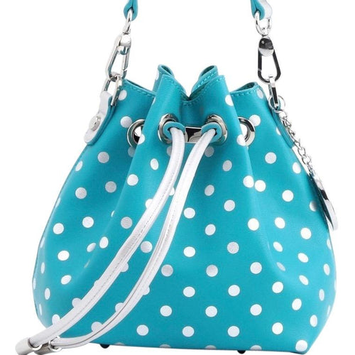 SCORE! Sarah Jean Designer Small Stadium Shoulder Crossbody Purse Polka Dot Boho Bucket Game Day Bag Tote - Turquoise and Silver
