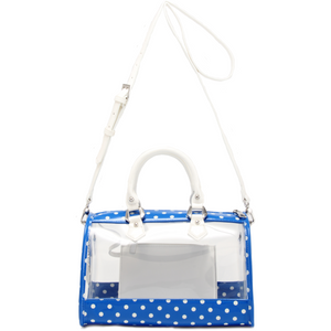 Moniqua Clear Satchel - Imperial Blue and White