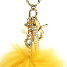 "Real Fur Puff Ball Pom-Pom 6"" Accessory Dangle Purse Charm - Yellow Gold with Gold Hardware"