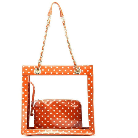 Andrea Clear Tailgate Tote - Burnt Sienna and White