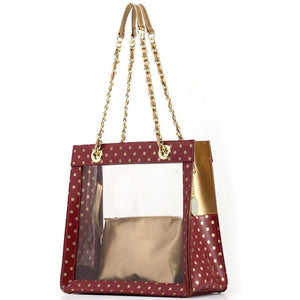 Andrea Clear Tailgate Tote - Maroon and Metallic Gold