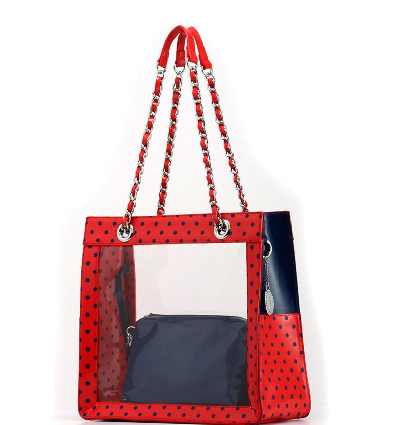 Andrea Clear Tailgate Tote - Racing Red and Navy Blue