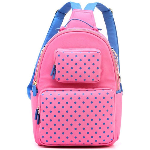 SCORE! Natalie Michelle Large Polka Dot Designer Backpack - Pink and French Blue