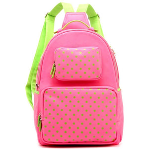 SCORE! Natalie Michelle Large Polka Dot Designer Backpack - Pink and Lime Green