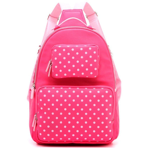 SCORE! Natalie Michelle Large Polka Dot Designer Backpack- Fandango Pink & Light Pink