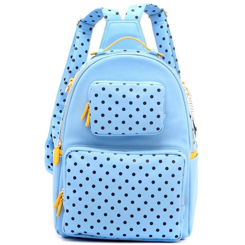 SCORE! Natalie Michelle Large Polka Dot Designer Backpack- Light Blue, Navy Blue & Yellow Gold