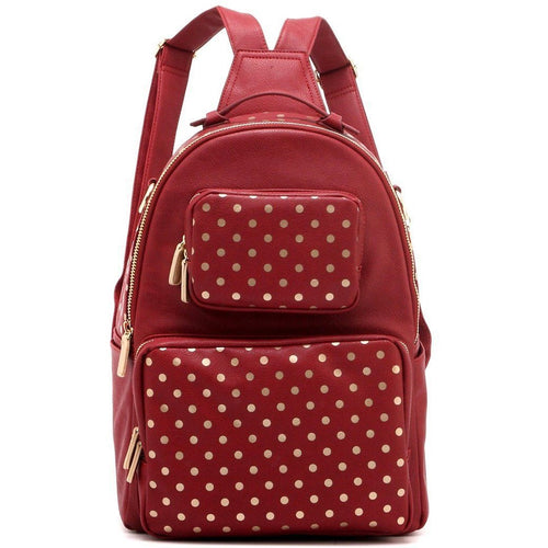Natalie Michelle Backpack Large - Maroon and Metallic Gold