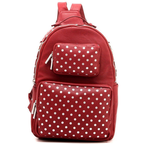 SCORE! Natalie Michelle Large Polka Dot Designer Backpack- Maroon and Silver