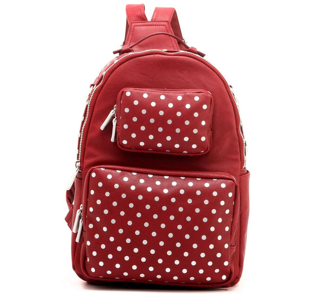 Natalie Michelle Backpack Large - Maroon and Silver