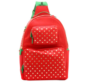 SCORE! Natalie Michelle Large Polka Dot Designer Backpack -  Red, Gold and Green