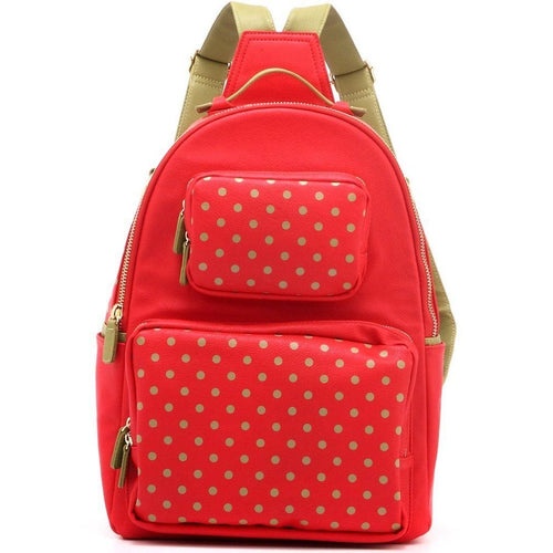 SCORE! Natalie Michelle Large Polka Dot Designer Backpack -  Red and Olive Green for Washington State University Cougars, Alpha Chi Omega, Alpha Sigma Alpha