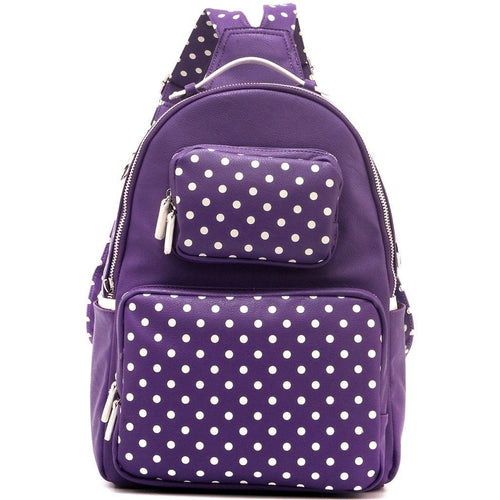 SCORE! Natalie Michelle Large Polka Dot Designer Backpack - Purple & White
