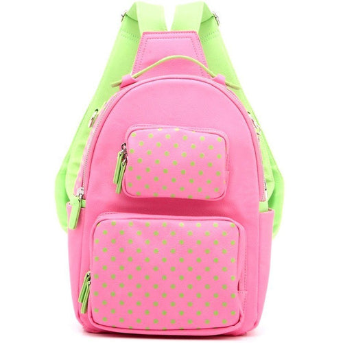 SCORE! Natalie Michelle Medium Polka Dot Designer Backpack  - Pink and Lime Green