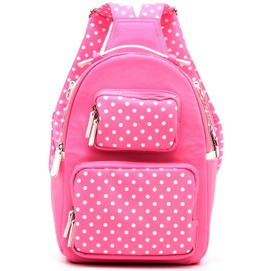 Natalie Michelle Backpack Medium - Aurora Pink and White