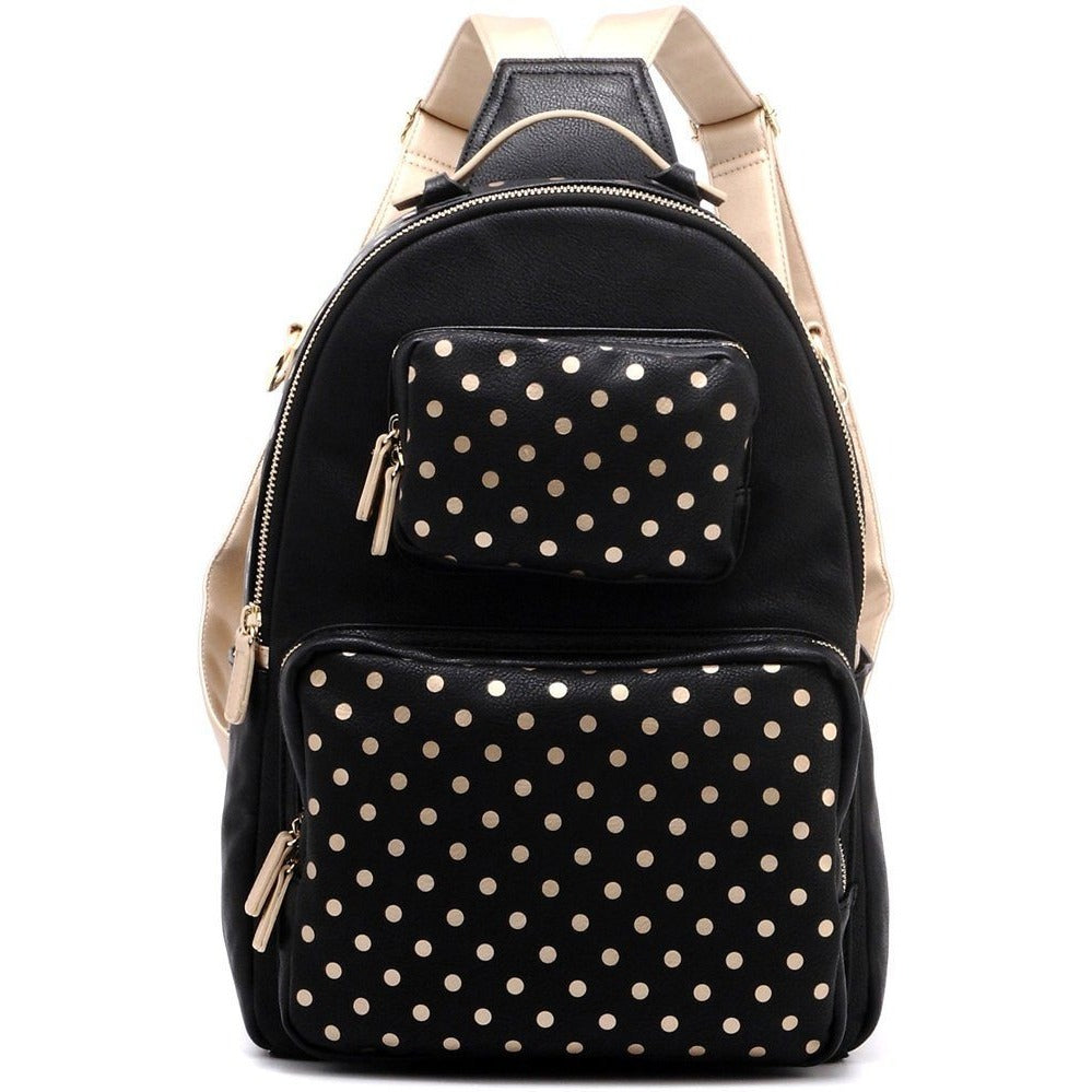 Natalie Michelle Backpack Medium - Black and Metallic Gold