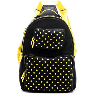 SCORE! Natalie Michelle Medium Polka Dot Designer Backpack  - Black and Gold Yellow