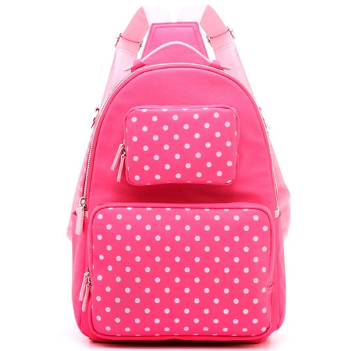 SCORE! Natalie Michelle Medium Polka Dot Designer Backpack - Fandango Pink and Light Pink