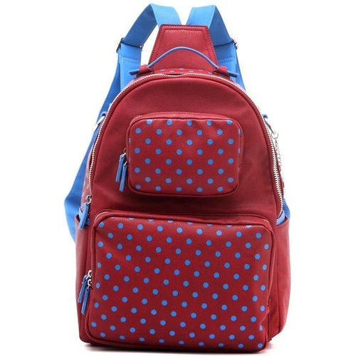 SCORE! Natalie Michelle Medium Polka Dot Designer Backpack  - Maroon and French Blue