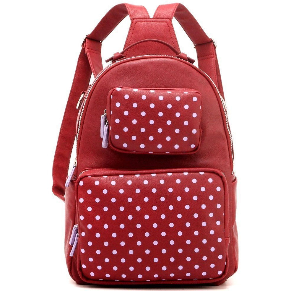 SCORE! Natalie Michelle Medium Polka Dot Designer Backpack  - Maroon and Lavender
