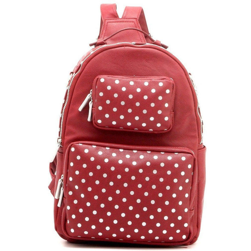Natalie Michelle Backpack Medium - Maroon and Silver