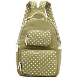 Natalie Michelle Backpack Medium - Olive Green and White