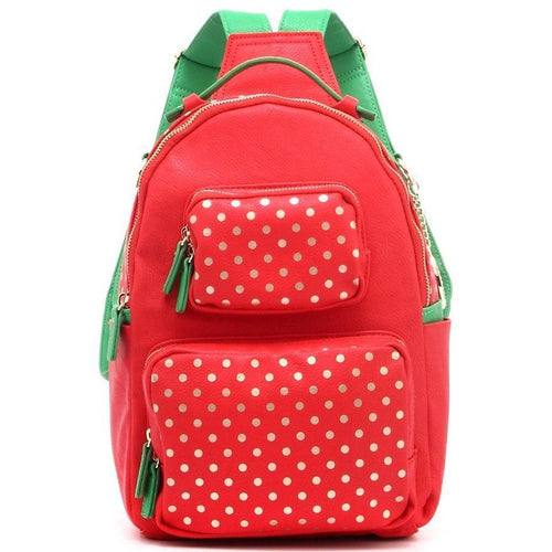 Natalie Michelle Backpack Medium - Racing Red, Metallic Gold and Fern Green
