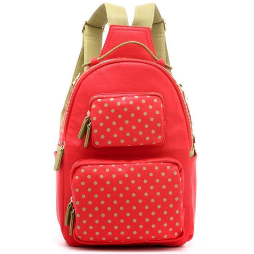 SCORE! Natalie Michelle Medium Polka Dot Designer Backpack - Red and Olive Green for Washington State University Cougars, Alpha Chi Omega, Alpha Sigma Alpha