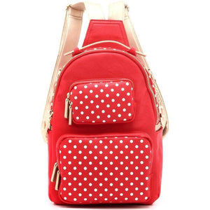 SCORE! Natalie Michelle Medium Polka Dot Designer Backpack - Red and Gold