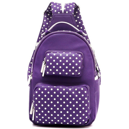 SCORE!'s Natalie Michelle Medium Polka Dot Designer Top-handle Girls Women School Work University Laptop Rucksack Casual Daypack Bookbag Travel Backpack - Purple and White