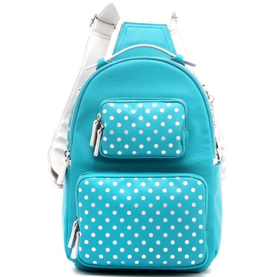 SCORE!'s Natalie Michelle Medium Polka Dot Designer Top-handle Girls Women School Work University Laptop Rucksack Casual Daypack Bookbag Travel Backpack - Turquoise and Silver