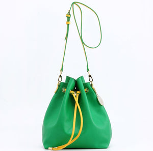 SCORE! Sarah Jean Designer Shoulder Crossbody Purse Solid Extra Large Boho Bucket Game Day Bag Tote - Oregon Ducks Bright Fern Green and Yellow Gold Sigma Alpha & Alpha Sigma Tau