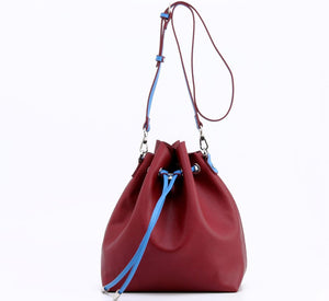 SCORE! Sarah Jean Crossbody Large BoHo Bucket Bag- Maroon and Blue
