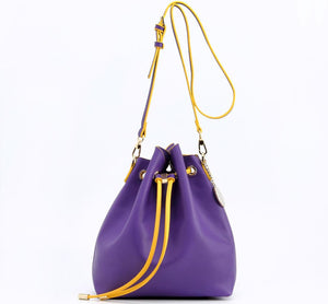 SCORE! Sarah Jean Crossbody Large BoHo Bucket Bag - Purple and Gold Yellow
