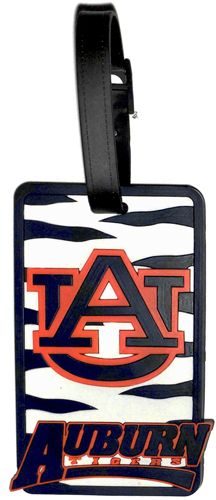 AUBURN University Tigers NCAA Licensed SOFT Luggage BAG TAG~ Orange and Blue