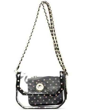 Chrissy Small Clear Game Day Handbag - Black and Metallic Gold