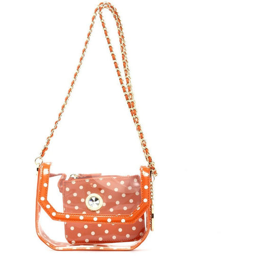 Chrissy Small Clear Stadium Compliant Crossbody Game Day Bag - Burnt Orange Sienna and White
