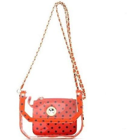 Chrissy Small Clear Game Day Handbag - Orange and Navy Blue