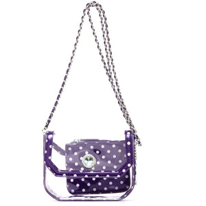 SCORE! Chrissy Small Designer Clear Crossbody Bag - Purple and White