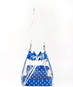 SCORE! Clear Sarah Jean Designer Crossbody Polka Dot Boho Bucket Bag-Royal Blue and White