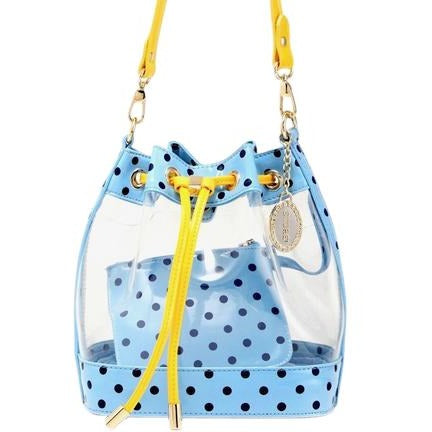 SCORE! Clear Sarah Jean Designer Stadium Shoulder Crossbody Purse Polka Dot Boho Bucket Game Day Bag Tote - Light Blue, Navy Blue and Yellow Gold