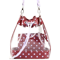 Sarah Jean Clear Bucket Handbag - Maroon and Lavender