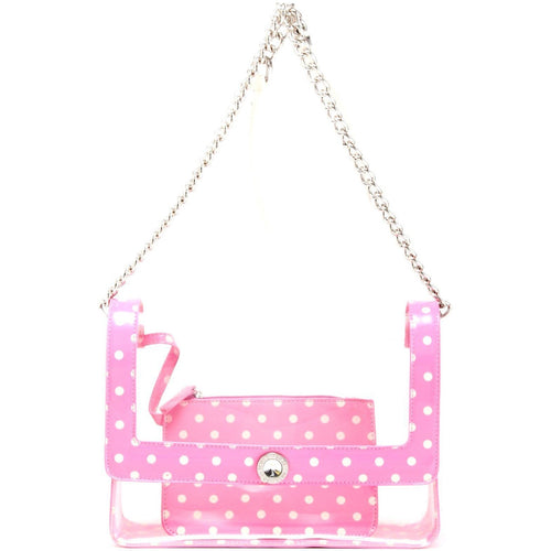 Chrissy Medium Clear Game Day Handbag - Aurora Pink and White