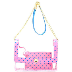 SCORE! Chrissy Medium Designer Clear Cross-body Bag -Pink and Blue